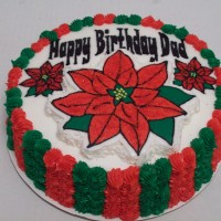 Poinsetta Birthday Cake