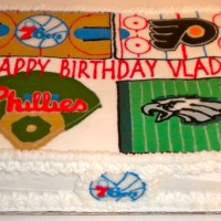 Philly Sports X 4 Cake