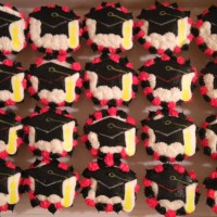 Graduation Cap cupcakes in school colors