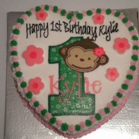 girlie Monkey 1st Birthday cake