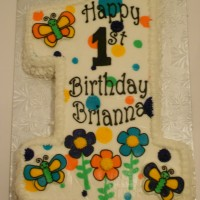 Flower and butterfly #1 birthday cake