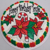 Poinsetta with candy cane Christmas/Birthday cake